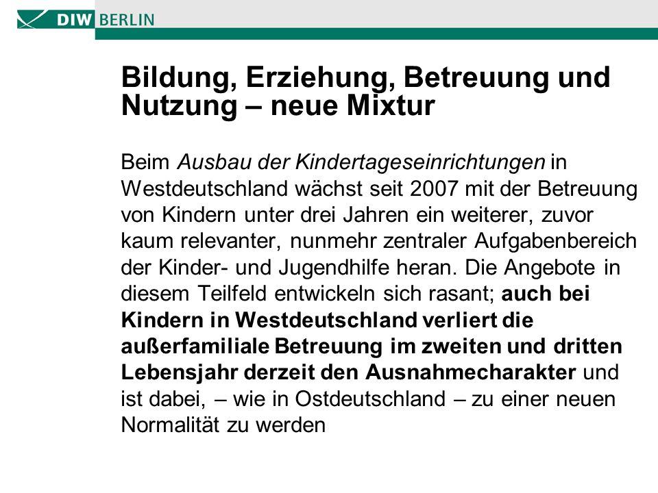 Bildung, Erziehung, Betreuung und Nutzung – neue Mixtur Beim Ausbau der Kindertageseinrichtungen in Westdeutschland wächst seit 2007 mit der Betreuung von Kindern unter drei Jahren ein weiterer, zuvor kaum relevanter, nunmehr zentraler Aufgabenbereich der Kinder- und Jugendhilfe heran.
