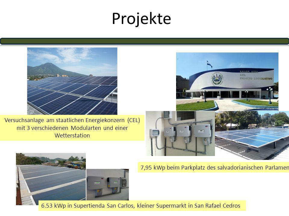Projekte 6.53 kWp in Supertienda San Carlos, kleiner Supermarkt in San Rafael Cedros 7,95 kWp beim Parkplatz des salvadorianischen Parlaments Versuchsanlage am staatlichen Energiekonzern (CEL) mit 3 verschiedenen Modularten und einer Wetterstation