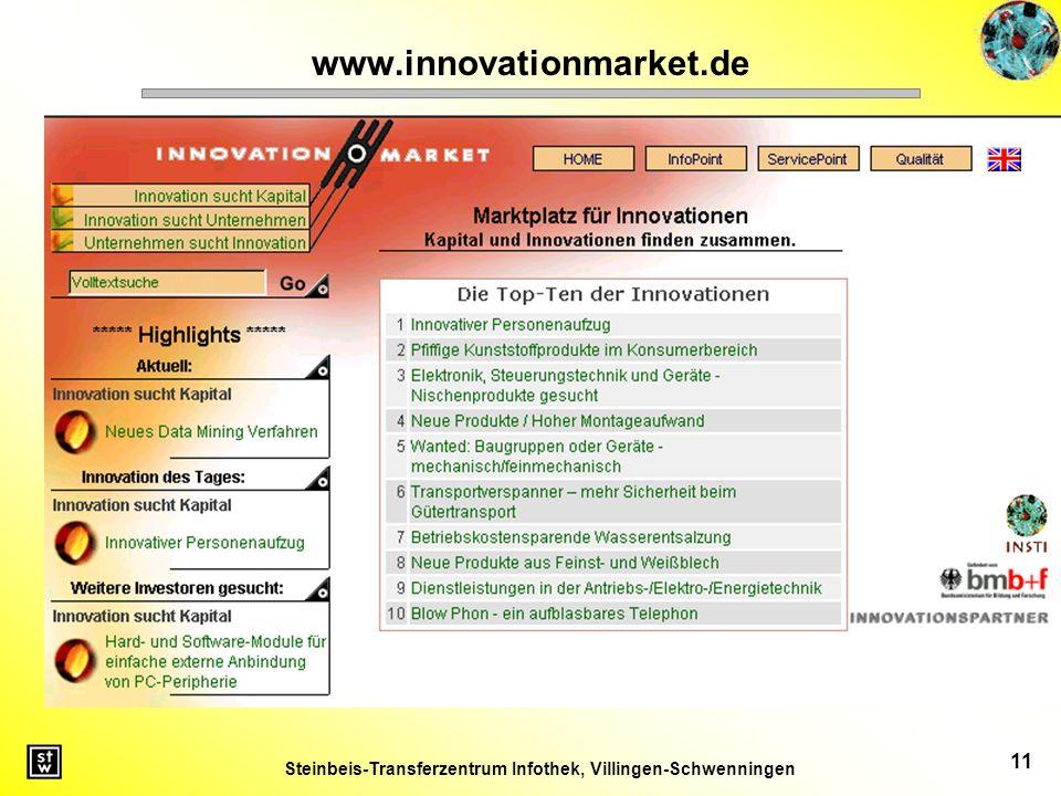 Steinbeis-Transferzentrum Infothek, Villingen-Schwenningen 11 www.innovationmarket.de