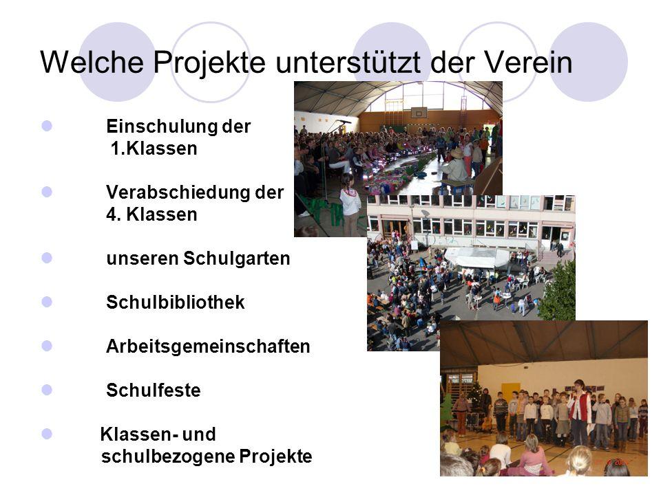 Welche Projekte unterstützt der Verein Einschulung der 1.Klassen Verabschiedung der 4. Klassen unseren Schulgarten Schulbibliothek Arbeitsgemeinschaft