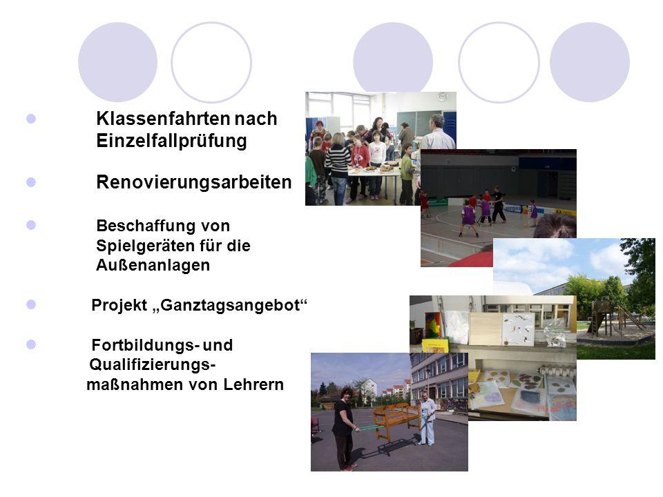 Klassenfahrten nach Einzelfallprüfung Renovierungsarbeiten Beschaffung von Spielgeräten für die Außenanlagen Projekt Ganztagsangebot Fortbildungs- und