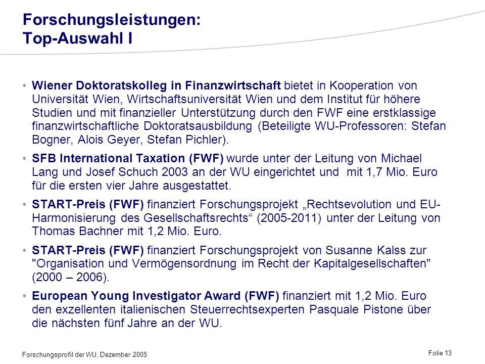 Forschungsprofil der WU, Dezember 2005 Folie 13 Forschungsleistungen: Top-Auswahl I Wiener Doktoratskolleg in Finanzwirtschaft bietet in Kooperation v