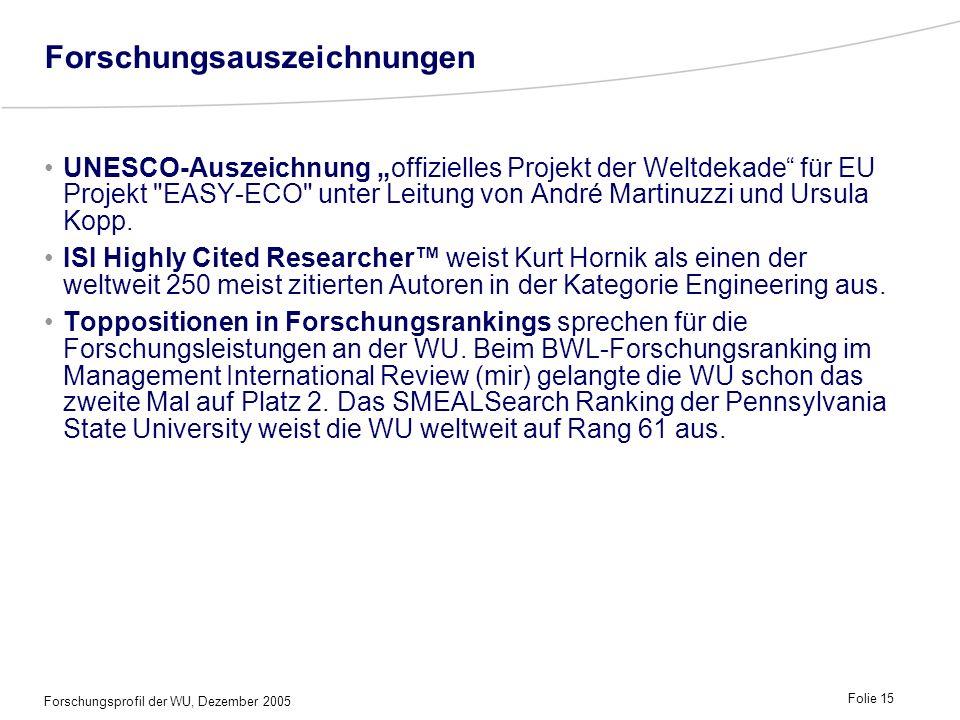 Forschungsprofil der WU, Dezember 2005 Folie 15 Forschungsauszeichnungen UNESCO-Auszeichnung offizielles Projekt der Weltdekade für EU Projekt