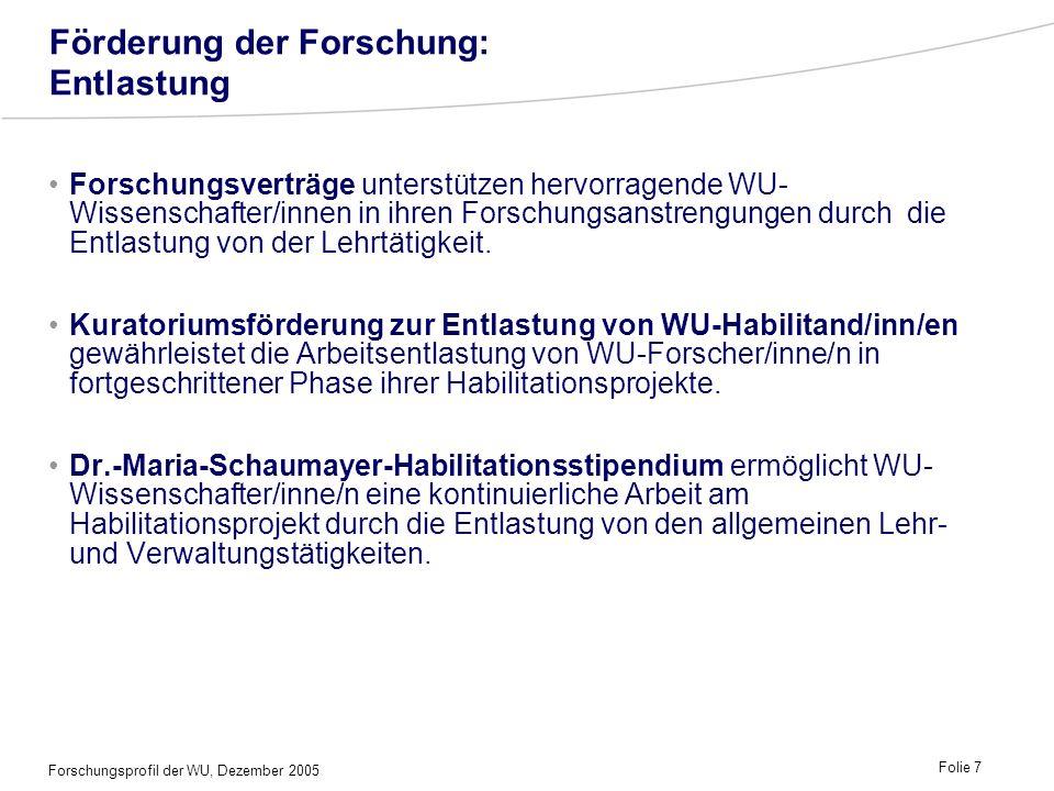 Forschungsprofil der WU, Dezember 2005 Folie 7 Förderung der Forschung: Entlastung Forschungsverträge unterstützen hervorragende WU- Wissenschafter/in