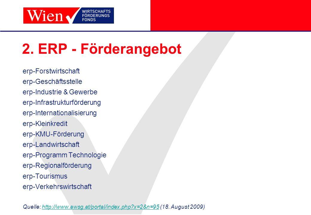 2. ERP - Förderangebot erp-Forstwirtschaft erp-Geschäftsstelle erp-Industrie & Gewerbe erp-Infrastrukturförderung erp-Internationalisierung erp-Kleink