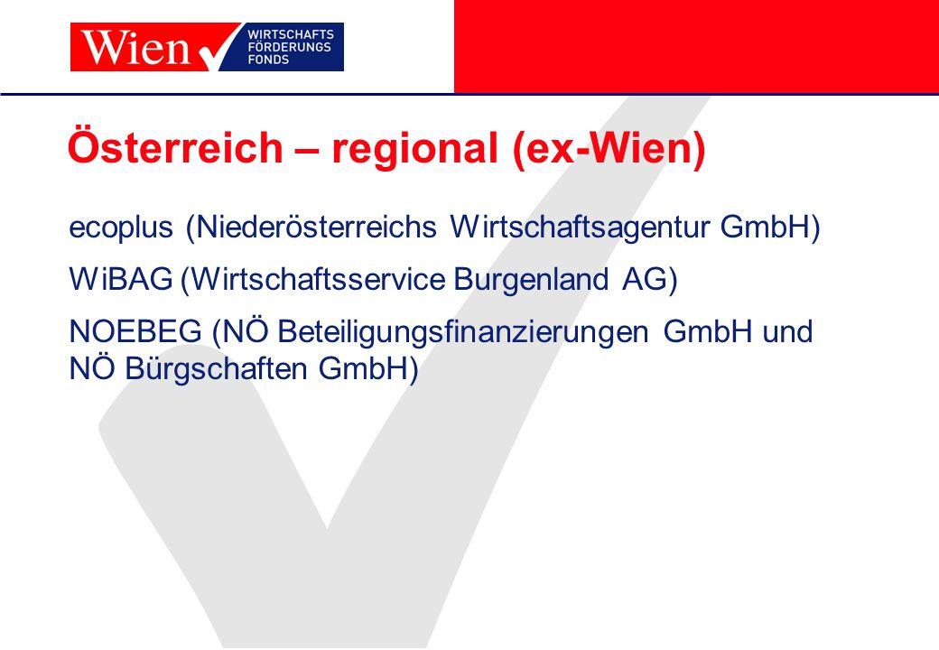 Österreich – regional (ex-Wien) ecoplus (Niederösterreichs Wirtschaftsagentur GmbH) WiBAG (Wirtschaftsservice Burgenland AG) NOEBEG (NÖ Beteiligungsfi