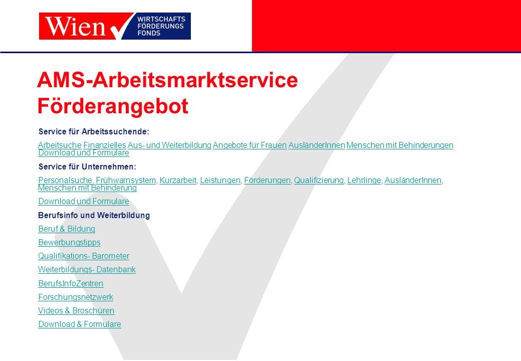 AMS-Arbeitsmarktservice Förderangebot Service für Arbeitssuchende: ArbeitsucheArbeitsuche Finanzielles Aus- und Weiterbildung Angebote für Frauen Ausl