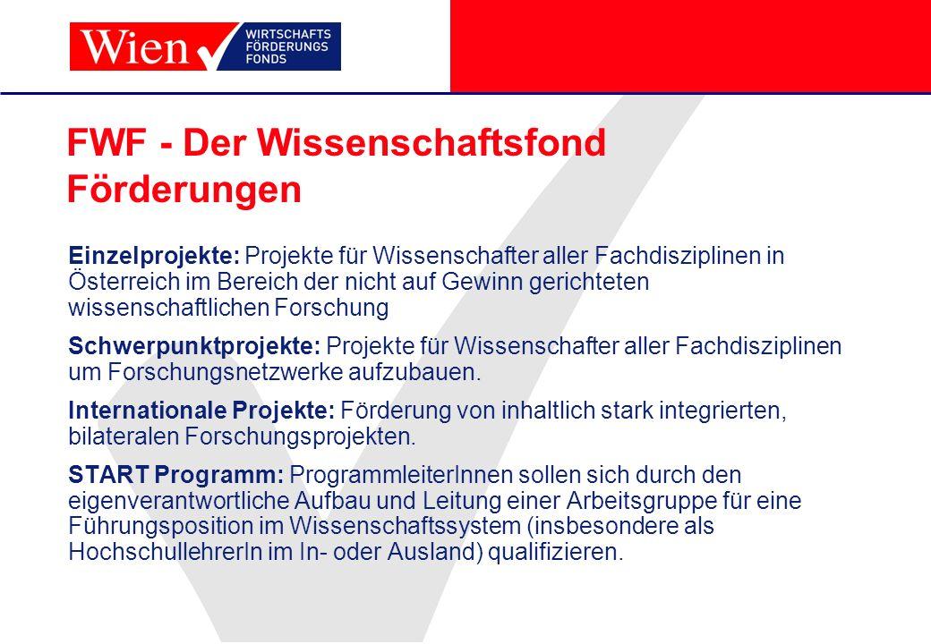 FWF - Der Wissenschaftsfond Förderungen Einzelprojekte: Projekte für Wissenschafter aller Fachdisziplinen in Österreich im Bereich der nicht auf Gewin