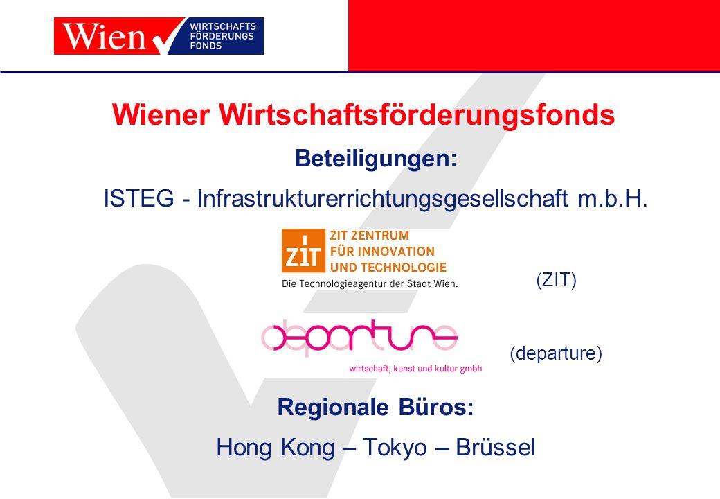 Wiener Wirtschaftsförderungsfonds Beteiligungen: ISTEG - Infrastrukturerrichtungsgesellschaft m.b.H. Regionale Büros: Hong Kong – Tokyo – Brüssel (ZIT