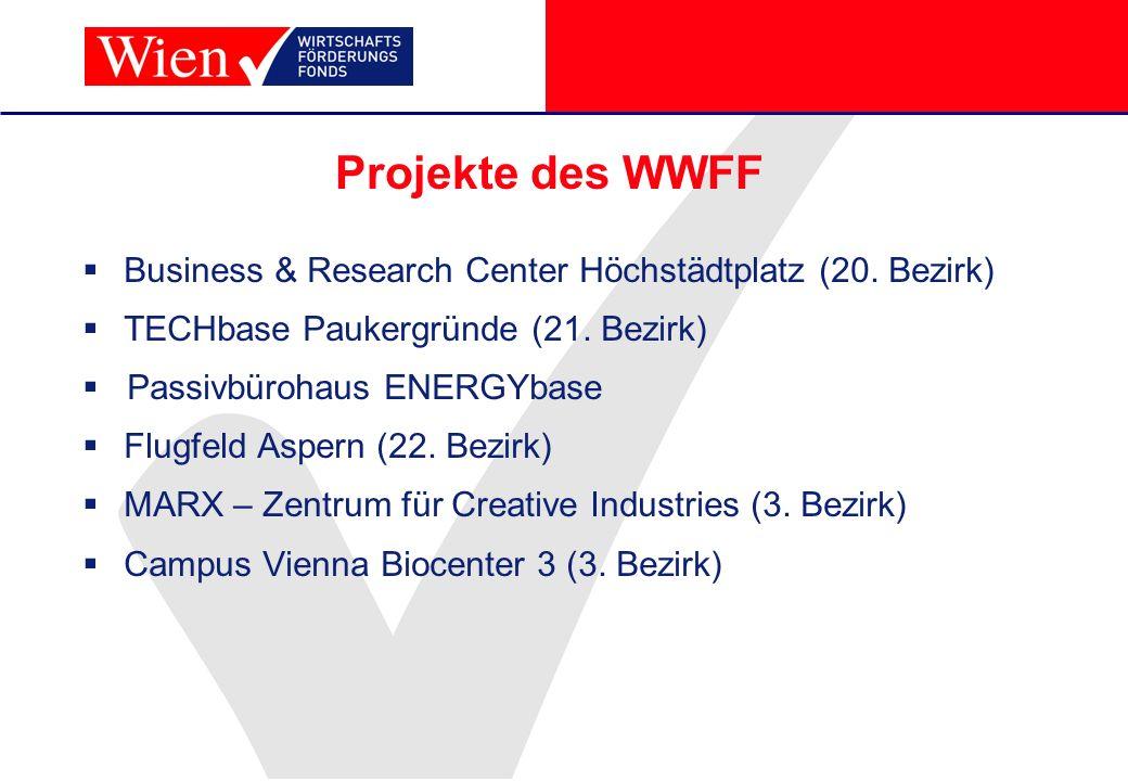 Projekte des WWFF Business & Research Center Höchstädtplatz (20. Bezirk) TECHbase Paukergründe (21. Bezirk) Passivbürohaus ENERGYbase Flugfeld Aspern