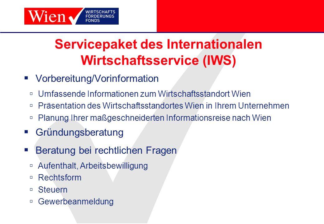 Servicepaket des Internationalen Wirtschaftsservice (IWS) Vorbereitung/Vorinformation Umfassende Informationen zum Wirtschaftsstandort Wien Präsentati