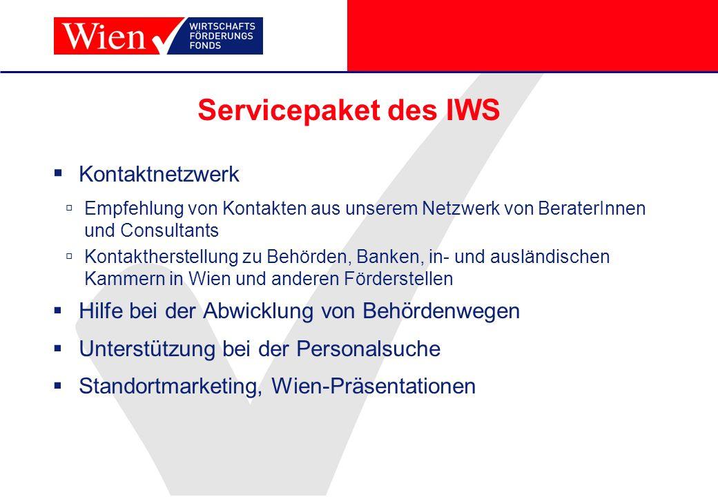 Servicepaket des IWS Kontaktnetzwerk Empfehlung von Kontakten aus unserem Netzwerk von BeraterInnen und Consultants Kontaktherstellung zu Behörden, Ba