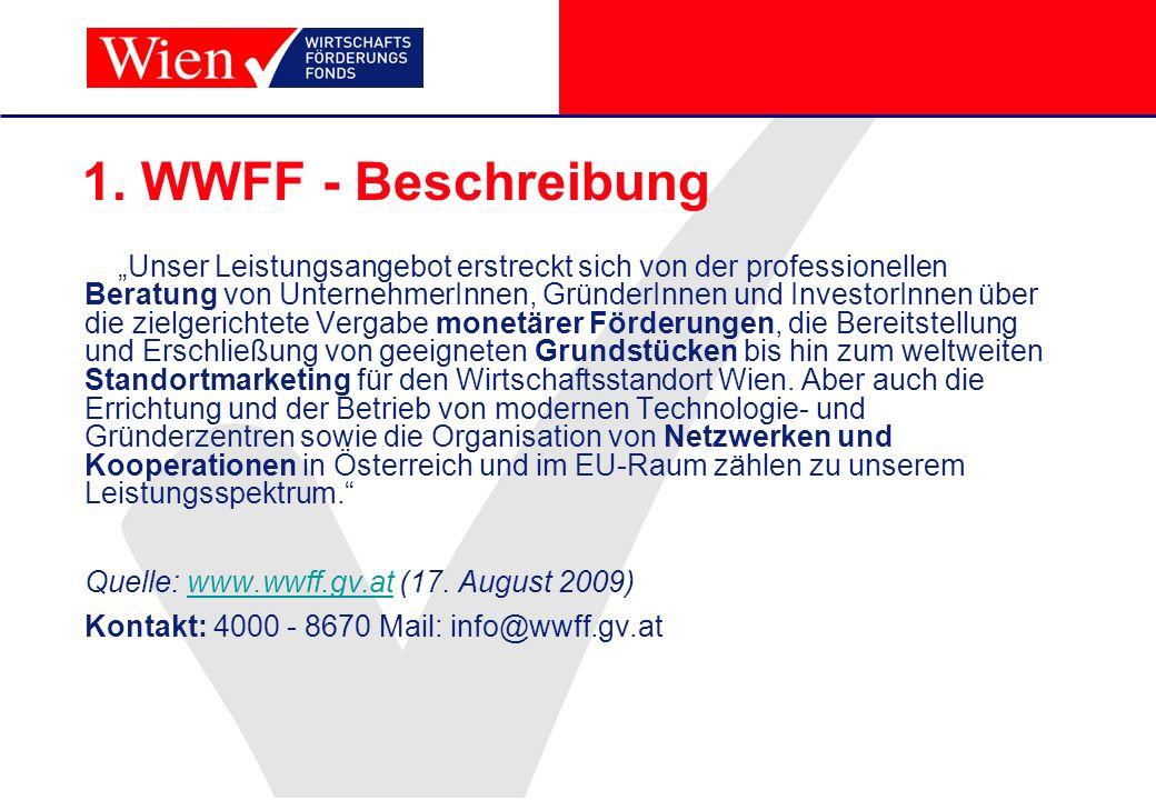 1. WWFF - Beschreibung Unser Leistungsangebot erstreckt sich von der professionellen Beratung von UnternehmerInnen, GründerInnen und InvestorInnen übe