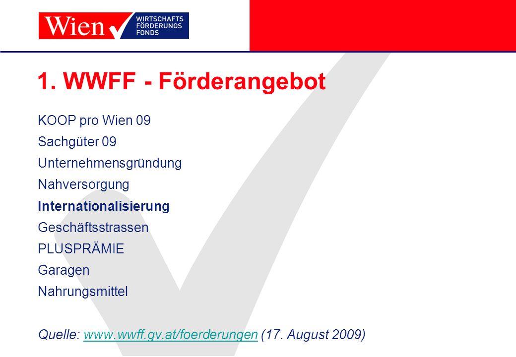 1. WWFF - Förderangebot KOOP pro Wien 09 Sachgüter 09 Unternehmensgründung Nahversorgung Internationalisierung Geschäftsstrassen PLUSPRÄMIE Garagen Na