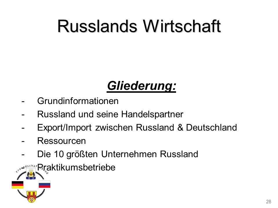 Russlands Wirtschaft Gliederung: -Grundinformationen -Russland und seine Handelspartner -Export/Import zwischen Russland & Deutschland -Ressourcen -Di