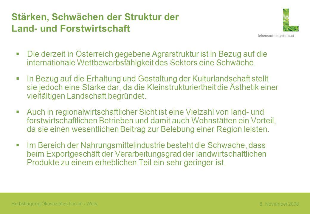8. November 2008 Herbsttagung Ökosoziales Forum - Wels Stärken, Schwächen der Struktur der Land- und Forstwirtschaft Die derzeit in Österreich gegeben