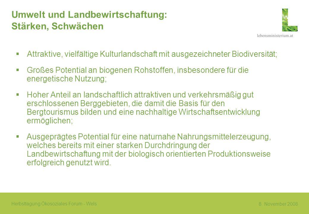 8. November 2008 Herbsttagung Ökosoziales Forum - Wels Umwelt und Landbewirtschaftung: Stärken, Schwächen Attraktive, vielfältige Kulturlandschaft mit