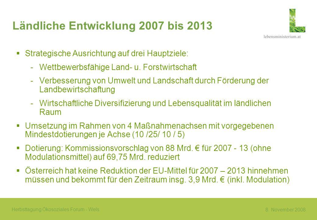 8. November 2008 Herbsttagung Ökosoziales Forum - Wels Ländliche Entwicklung 2007 bis 2013 Strategische Ausrichtung auf drei Hauptziele: -Wettbewerbsf