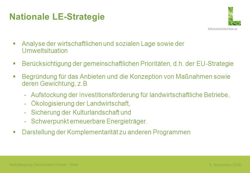8. November 2008 Herbsttagung Ökosoziales Forum - Wels Nationale LE-Strategie Analyse der wirtschaftlichen und sozialen Lage sowie der Umweltsituation