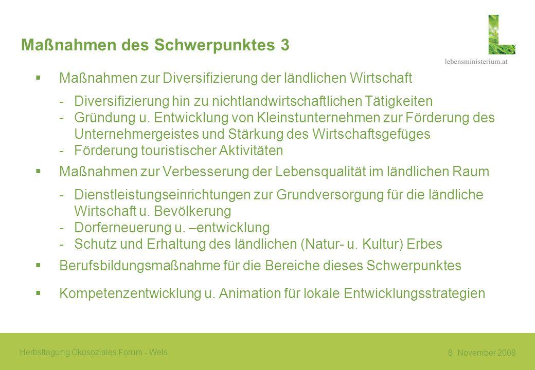 8. November 2008 Herbsttagung Ökosoziales Forum - Wels Maßnahmen des Schwerpunktes 3 Maßnahmen zur Diversifizierung der ländlichen Wirtschaft -Diversi