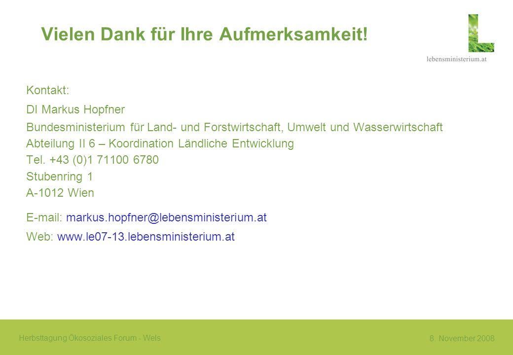8. November 2008 Herbsttagung Ökosoziales Forum - Wels Vielen Dank für Ihre Aufmerksamkeit! Kontakt: DI Markus Hopfner Bundesministerium für Land- und
