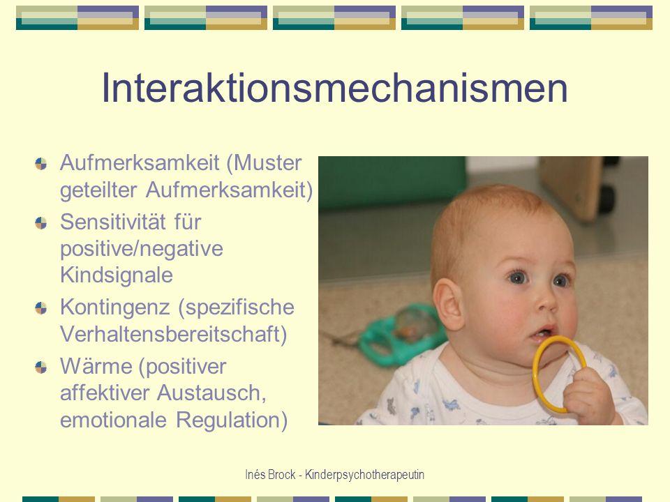 Inés Brock - Kinderpsychotherapeutin Interaktionsmechanismen Aufmerksamkeit (Muster geteilter Aufmerksamkeit) Sensitivität für positive/negative Kinds
