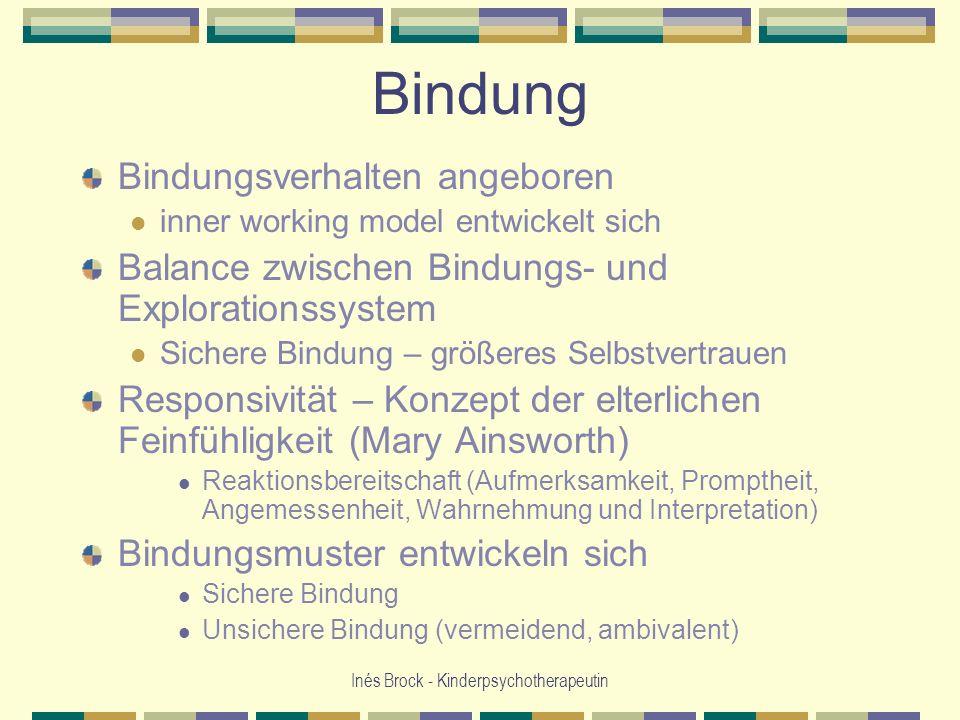 Inés Brock - Kinderpsychotherapeutin Bindung Bindungsverhalten angeboren inner working model entwickelt sich Balance zwischen Bindungs- und Exploratio