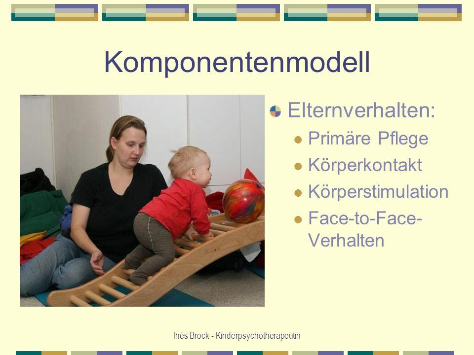 Inés Brock - Kinderpsychotherapeutin Komponentenmodell Elternverhalten: Primäre Pflege Körperkontakt Körperstimulation Face-to-Face- Verhalten