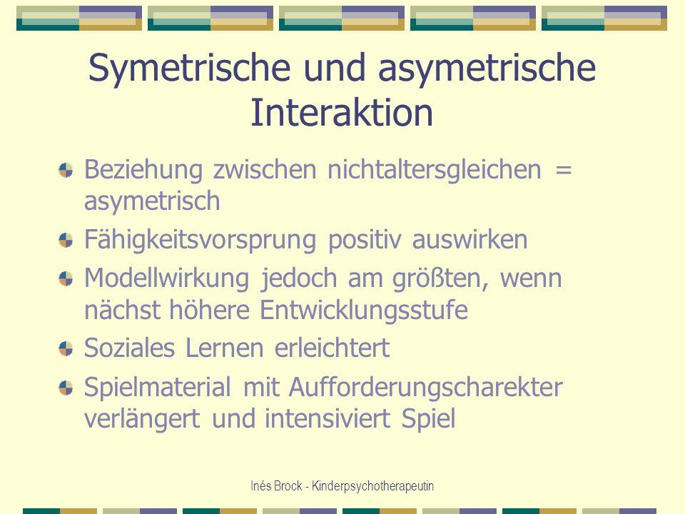 Inés Brock - Kinderpsychotherapeutin Symetrische und asymetrische Interaktion Beziehung zwischen nichtaltersgleichen = asymetrisch Fähigkeitsvorsprung