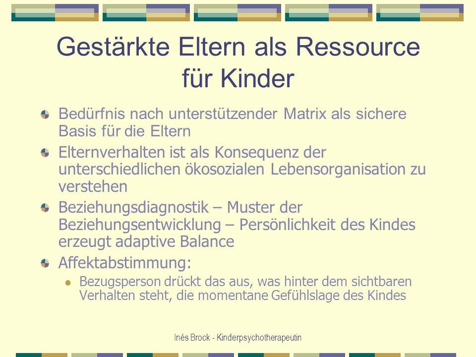 Gestärkte Eltern als Ressource für Kinder Bedürfnis nach unterstützender Matrix als sichere Basis für die Eltern Elternverhalten ist als Konsequenz de