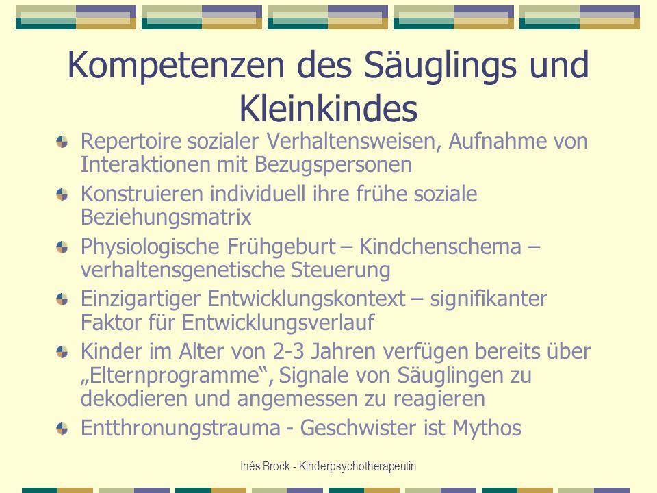 Inés Brock - Kinderpsychotherapeutin Kompetenzen des Säuglings und Kleinkindes Repertoire sozialer Verhaltensweisen, Aufnahme von Interaktionen mit Be