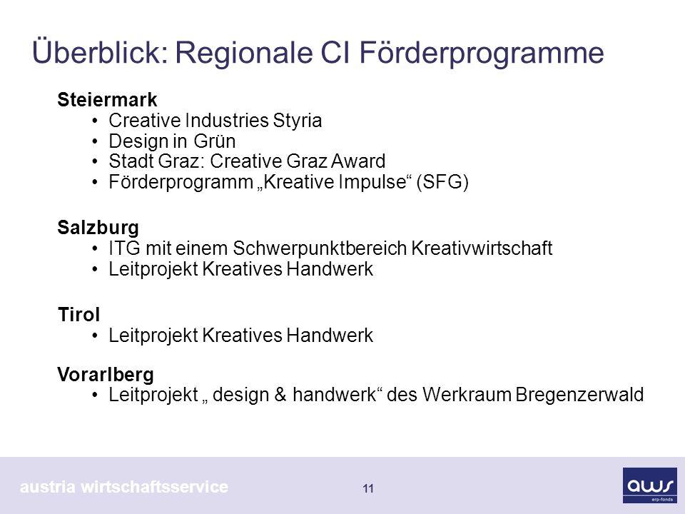 austria wirtschaftsservice 11 Überblick: Regionale CI Förderprogramme Steiermark Creative Industries Styria Design in Grün Stadt Graz: Creative Graz A