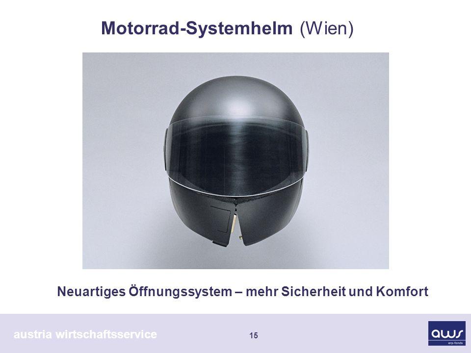 austria wirtschaftsservice 15 Neuartiges Öffnungssystem – mehr Sicherheit und Komfort Motorrad-Systemhelm (Wien)