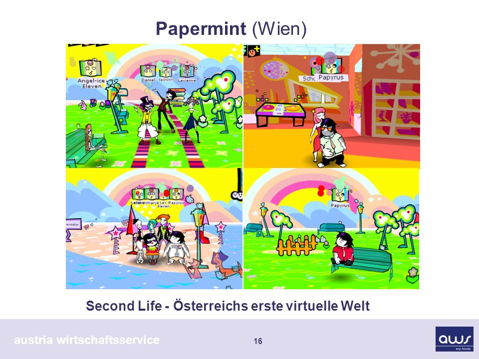 austria wirtschaftsservice 16 Second Life - Österreichs erste virtuelle Welt Papermint (Wien)