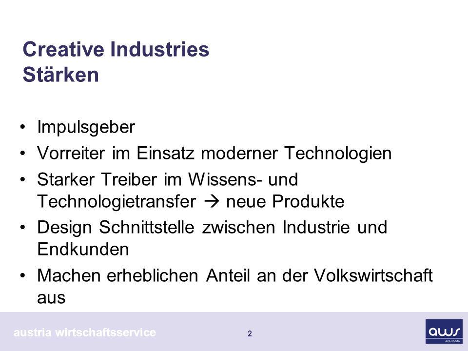 austria wirtschaftsservice 2 Creative Industries Stärken Impulsgeber Vorreiter im Einsatz moderner Technologien Starker Treiber im Wissens- und Techno