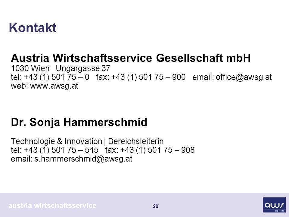 austria wirtschaftsservice 20 Kontakt Austria Wirtschaftsservice Gesellschaft mbH 1030 Wien Ungargasse 37 tel: +43 (1) 501 75 – 0 fax: +43 (1) 501 75