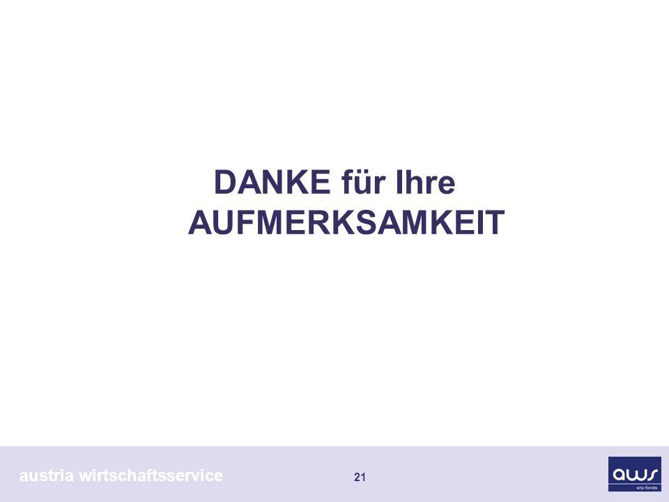 austria wirtschaftsservice 21 DANKE für Ihre AUFMERKSAMKEIT