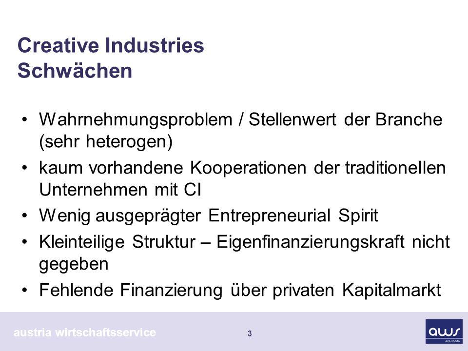 austria wirtschaftsservice 3 Creative Industries Schwächen Wahrnehmungsproblem / Stellenwert der Branche (sehr heterogen) kaum vorhandene Kooperatione