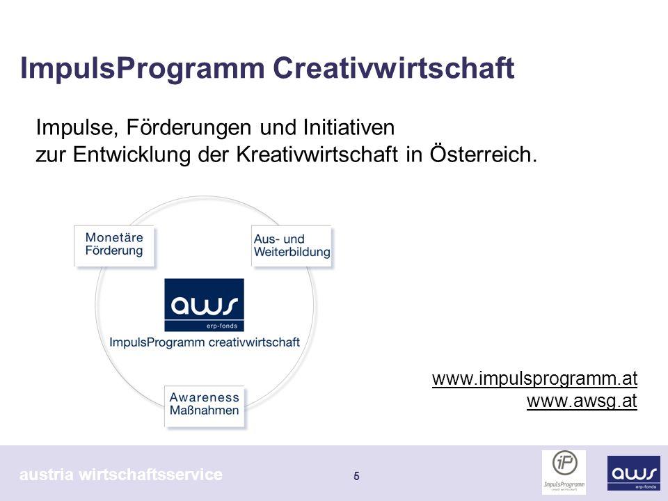 austria wirtschaftsservice 6 ImpulsProgramm Creativwirtschaft iP erstes bundesweites Förderprogramm (2004) kurz nach departure in Wien (2003) Immer mehr Bundesländer fördern die Creative Industries