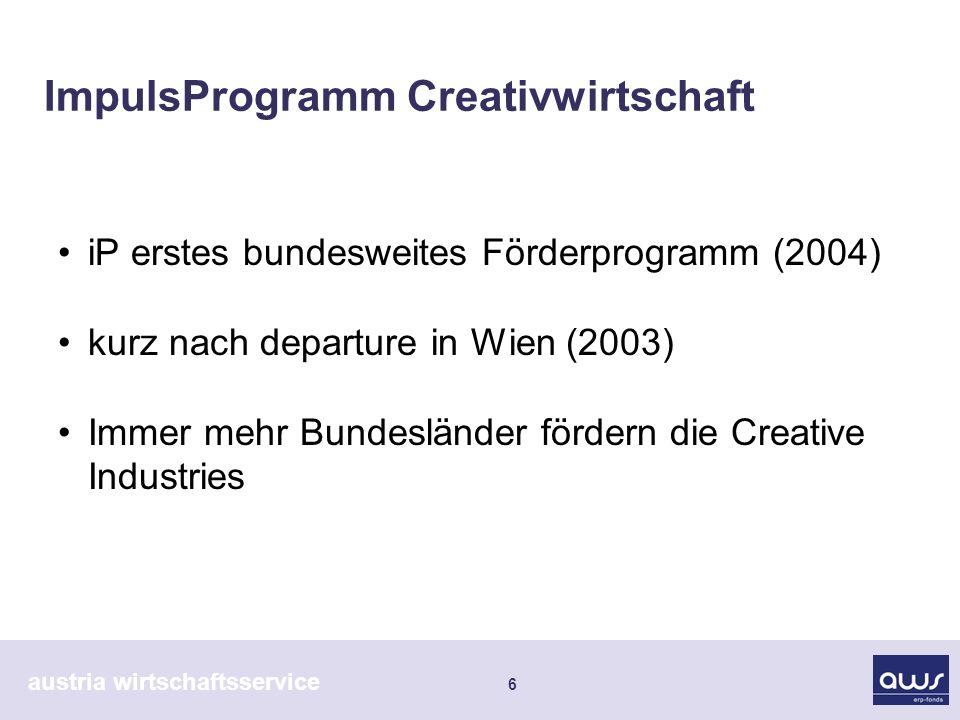 austria wirtschaftsservice 6 ImpulsProgramm Creativwirtschaft iP erstes bundesweites Förderprogramm (2004) kurz nach departure in Wien (2003) Immer me
