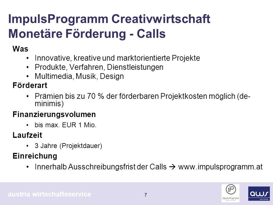 austria wirtschaftsservice 8 ImpulsProgramm Creativwirtschaft Monetäre Förderung - Calls 3 Calls - gesamt Einreichungen520 Geförderte Projekte 53 Davon Gründungen 11 Fördersumme Ø 195.000 FördersummeCa.