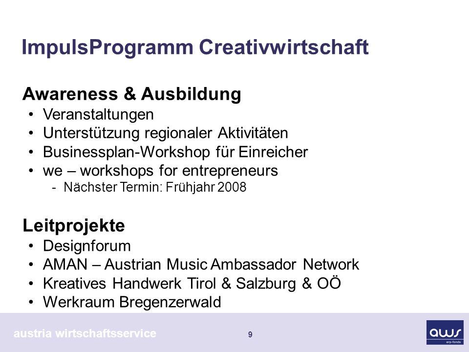 austria wirtschaftsservice 9 ImpulsProgramm Creativwirtschaft Awareness & Ausbildung Veranstaltungen Unterstützung regionaler Aktivitäten Businessplan