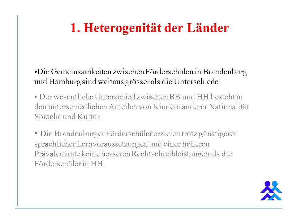 1. Heterogenität der Länder Die Gemeinsamkeiten zwischen Förderschulen in Brandenburg und Hamburg sind weitaus grösser als die Unterschiede. Der wesen