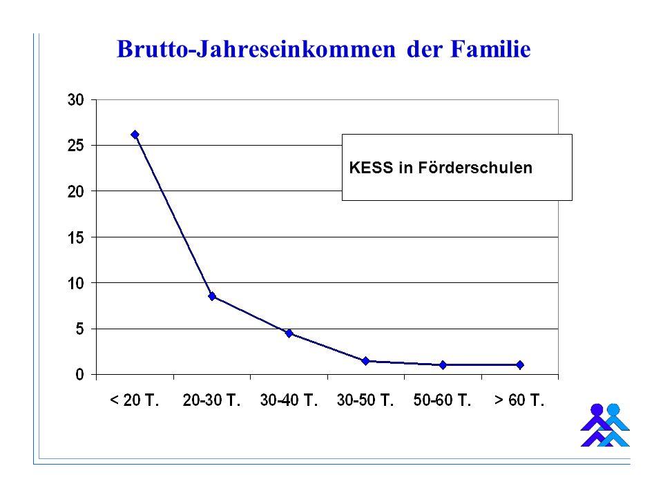 Brutto-Jahreseinkommen der Familie KESS in Förderschulen