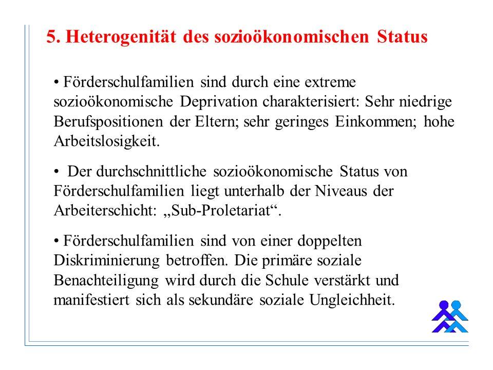 5. Heterogenität des sozioökonomischen Status Förderschulfamilien sind durch eine extreme sozioökonomische Deprivation charakterisiert: Sehr niedrige
