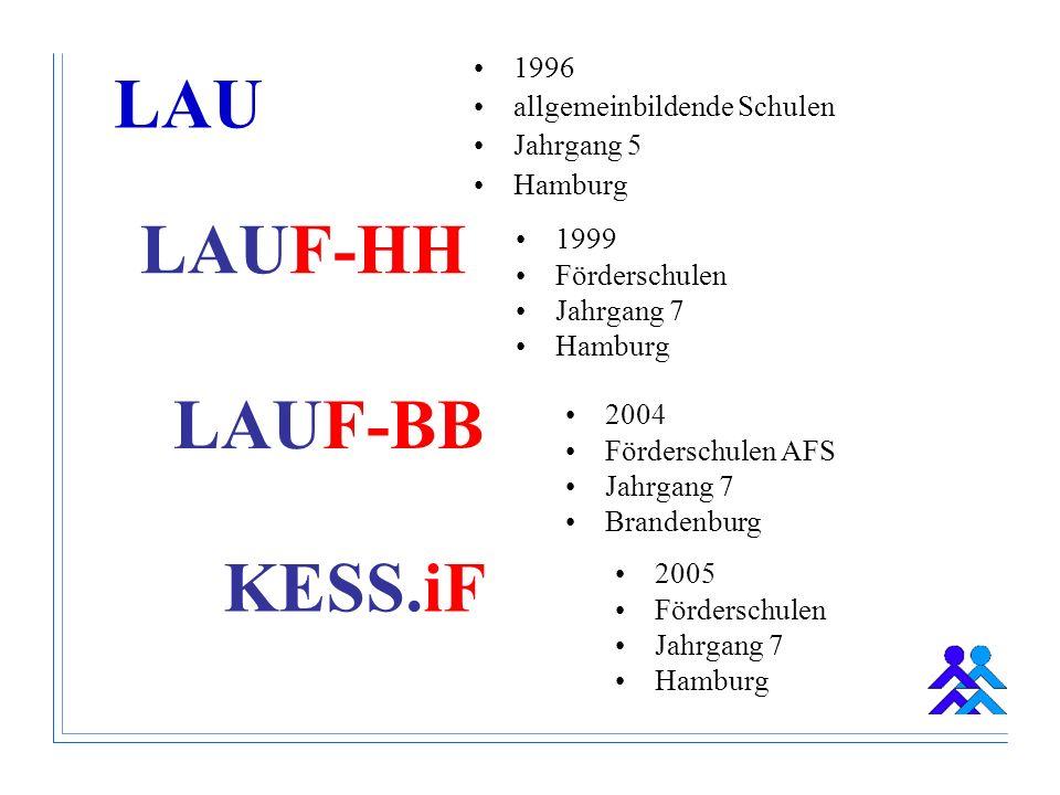 LAUF-HH 1999 Förderschulen Jahrgang 7 Hamburg 1996 allgemeinbildende Schulen Jahrgang 5 Hamburg LAUF-BB 2004 Förderschulen AFS Jahrgang 7 Brandenburg KESS.iF 2005 Förderschulen Jahrgang 7 Hamburg LAU