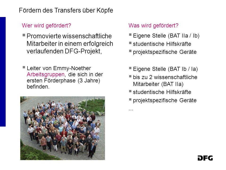 Wer wird gefördert? Promovierte wissenschaftliche Mitarbeiter in einem erfolgreich verlaufenden DFG-Projekt, Eigene Stelle (BAT IIa / Ib) studentische