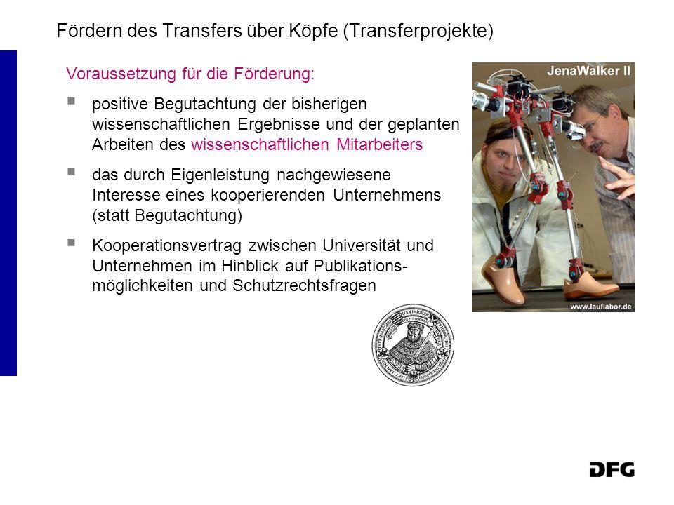 Fördern des Transfers über Köpfe (Transferprojekte) Voraussetzung für die Förderung: positive Begutachtung der bisherigen wissenschaftlichen Ergebniss