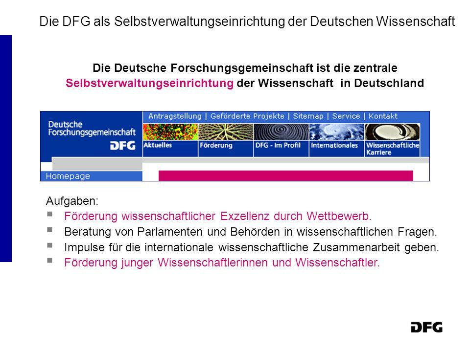 Die DFG als Selbstverwaltungseinrichtung der Deutschen Wissenschaft Die Deutsche Forschungsgemeinschaft ist die zentrale Selbstverwaltungseinrichtung