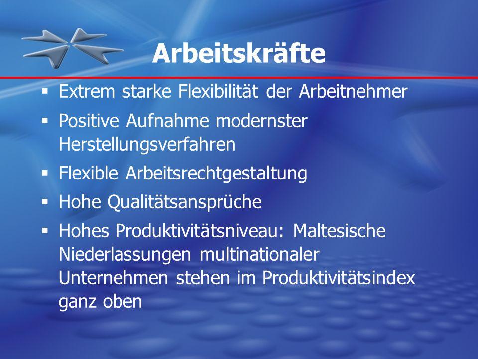 Arbeitskräfte Extrem starke Flexibilität der Arbeitnehmer Positive Aufnahme modernster Herstellungsverfahren Flexible Arbeitsrechtgestaltung Hohe Qual